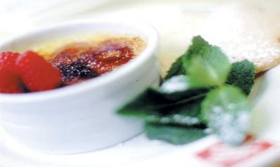 Burnt lemon cream with raspberries
