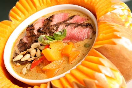Red pumpkin curry with grilled beef