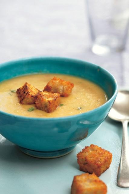 Lentil soup, harissa croutons