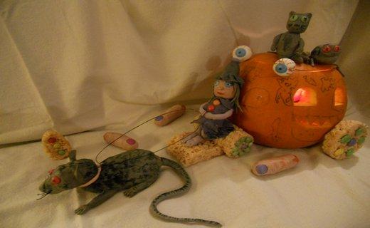 Halloween crispie sculptures