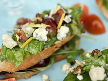 Cashel blue, walnut and grape bruschetta salad