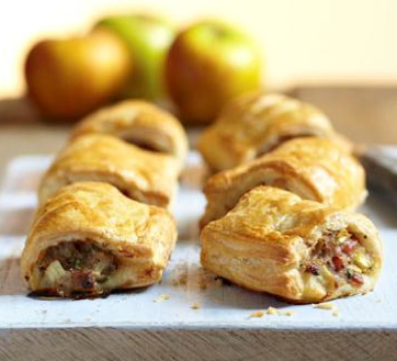 Sausage, apple and bacon roll