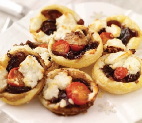 Red onion and goats cheese tartlets