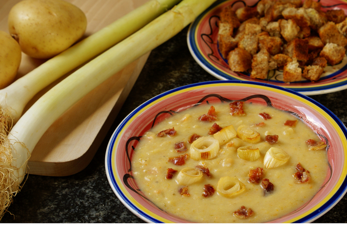 Leek and potato soup with bacon and cheddar