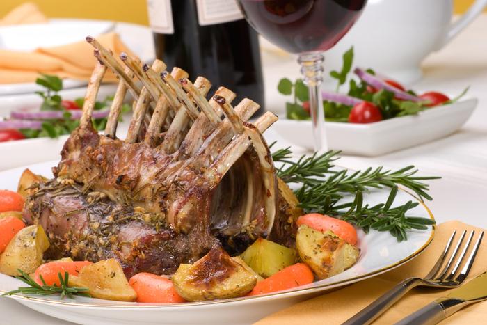 Lamb rack with hazelnut Dijon crust