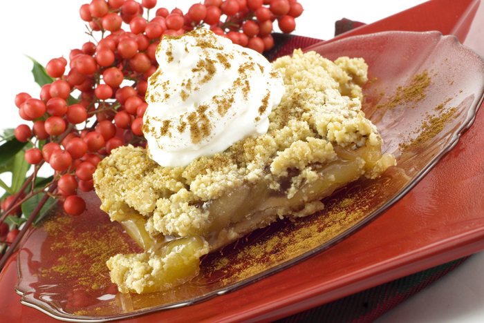 Country apple pie with pecan streusel topping