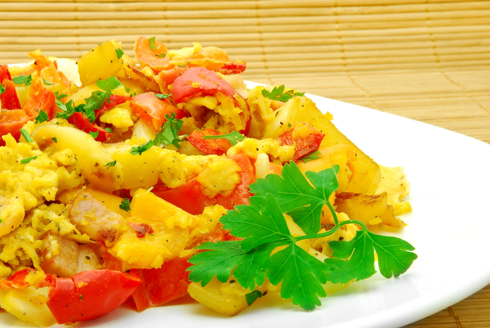 Spicy egg ham scramble