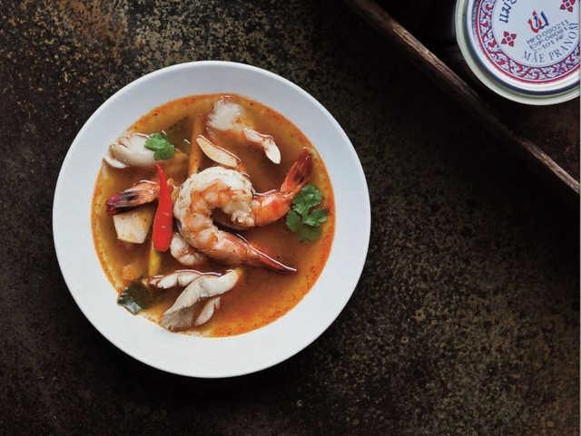 Traditional Thai spicy prawn soup (Tom Yaam Goong)