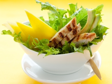 Warm chicken, avocado and mango salad