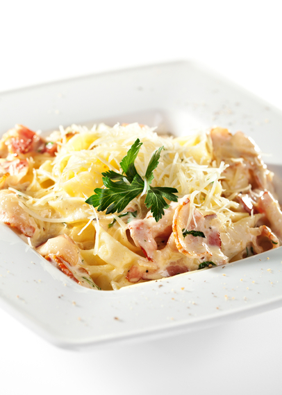 Fettucine carbonara with extra parmesan cheese