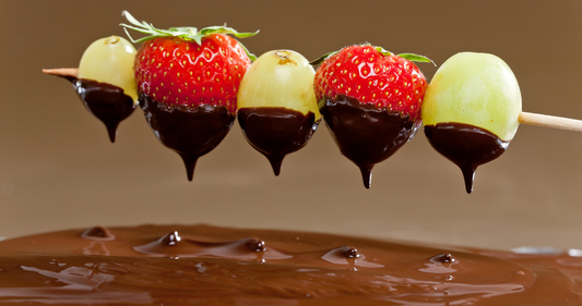 Fruit skewers with chocolate dipping sauce