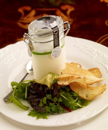 Smoked salmon mousse with cucumber jelly and lemon froth
