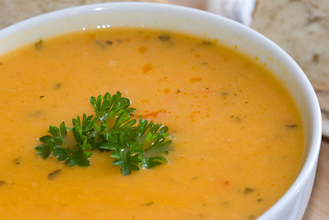 Carrot soup with griddled scones