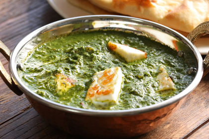 Paneer and creamy spinach curry