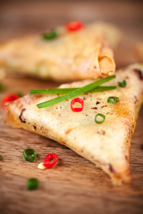 Spinach samosas with chilli and lime salad
