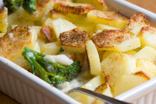 Potato and white fish bake