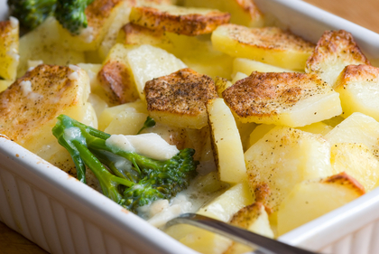 Potato and white fish bake