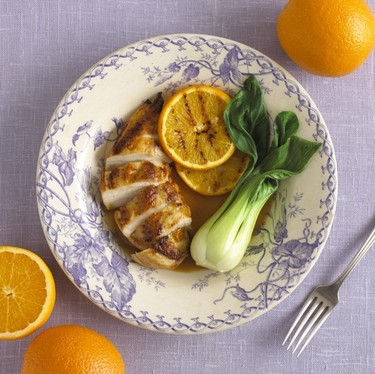 Marinated chicken breasts with soy orange sauce