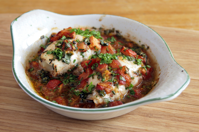 Tomato and herb cod