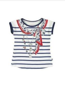 Mayoral Girls Cream and Navy Striped T-Shirt
