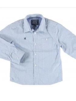 Mayoral Boys Blue and White Striped Long Sleeve Shirt