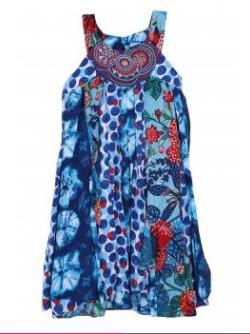 Catimini Clothing Girls Blue Printed Panelled Dress