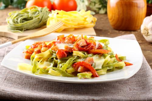 Tagliatelle with pancetta, olives and crème fraîche