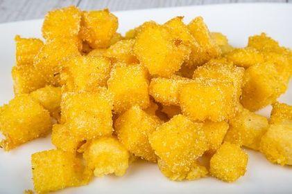 Crispy polenta and parmesan cubes