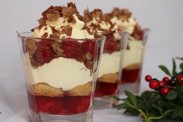 Mini raspberry and chocolate trifles