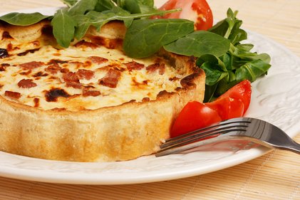 Bacon, leek and brie quiche