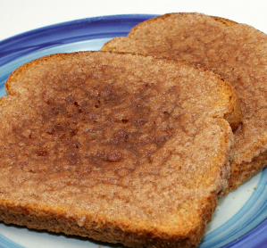 Toast with a cinnamon and sugar spread