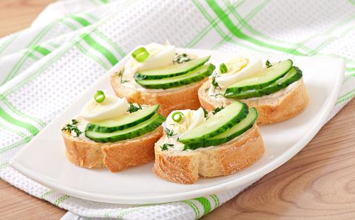 Cucumber and egg tartine