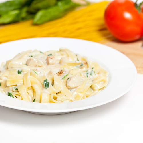 Chicken and fettuccine with an Alfredo sauce