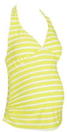 Yellow strip tankini top