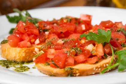 Toast with a tomato topping
