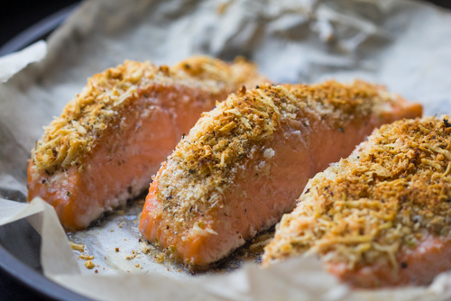 Salmon with a cheese crust
