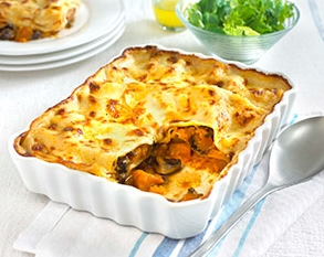 Roasted butternut squash and mushroom lasagne
