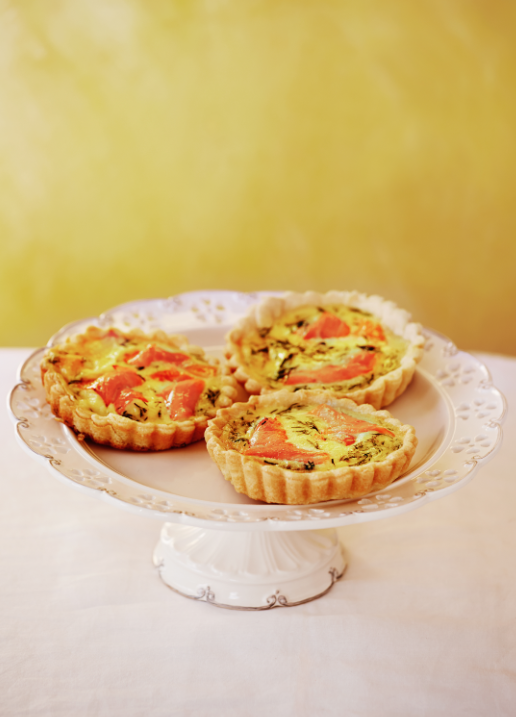 Smoked salmon and dill tartlets