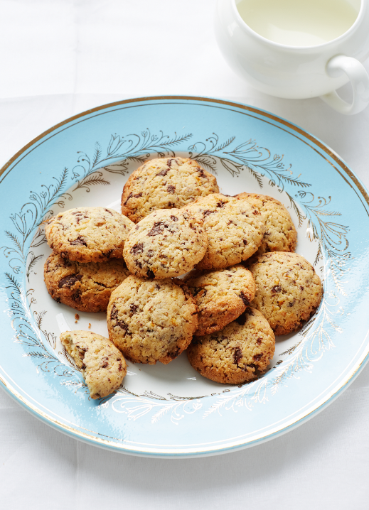 Orange biscuits with chocolate chips