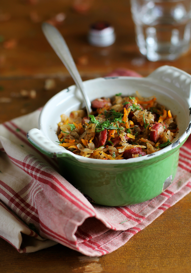 Spiced sausages with mixed beans and herbs