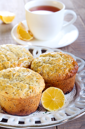 Lemon and poppy seed muffin