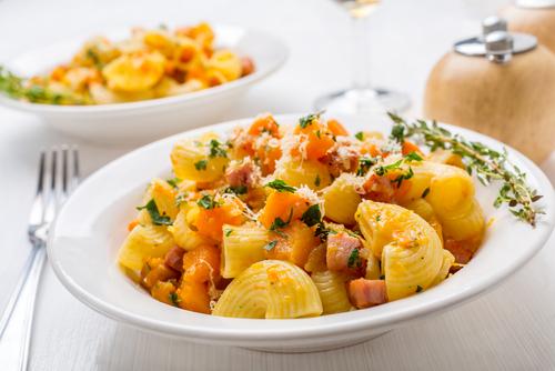 Butternut squash, pasta and pancetta