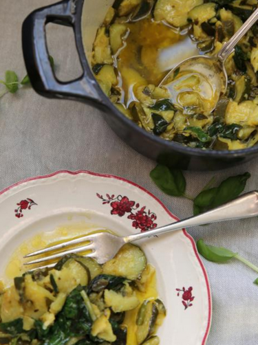 Slow cooked courgettes with basil and lemon