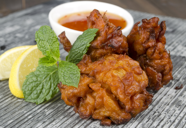 Carrot and corn fritters with chutney
