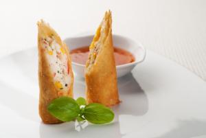 Tuna and sweet corn spring rolls