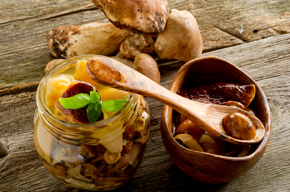 Italian antipasto marinated mushrooms