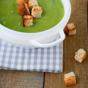 Watercress & celeriac soup with goats cheese croutons