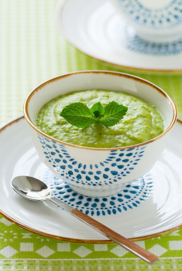 Pea soup infused with mint served with parmesan biscuits