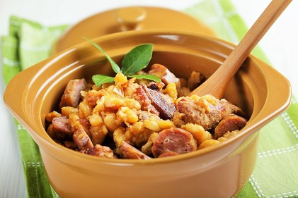 Sausage and bean hotpot