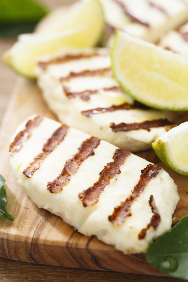 Grilled halloumi with quinoa salad.